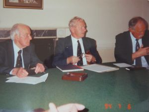 6th July 1994 Bill Savage (President) , Alf Hunt (Secretary) , Doug Daniell